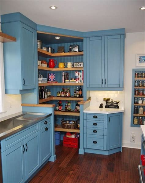 Corners in your kitchen into an open pantry with corner shelves and