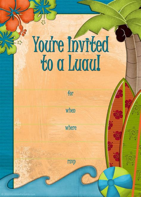 luau invitation template free printable luau and bbq invitations
