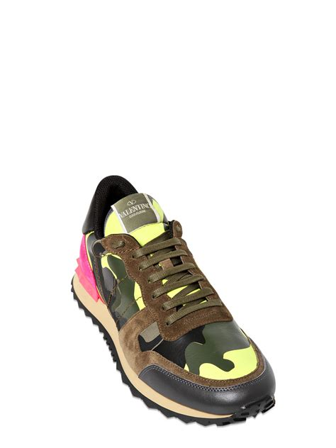 studded sneakers valentino leather canvas suede studded sneakers in green