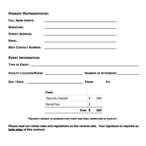 blank rental agreement template blank rental agreement 7 free sles exles formats