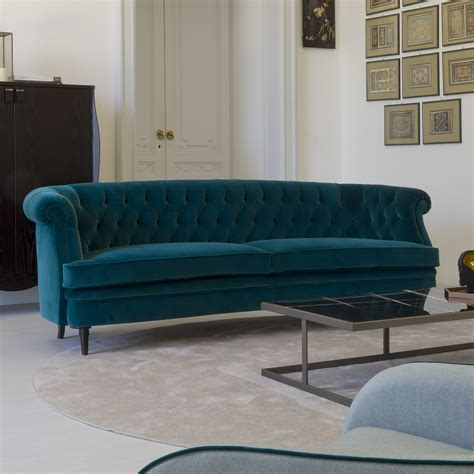 Teal Velvet Sofa by Classic Italian Designer Teal Velvet Sofa