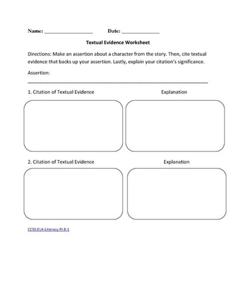 Citing Evidence Worksheet by Reading Literature 7th Grade Ela Common Collection