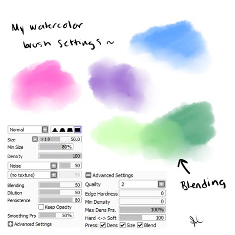My Watercolor Brush Settings Paint Tool Sai By