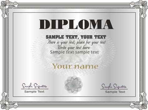 Gorgeous diploma certificate template 05 vector Free