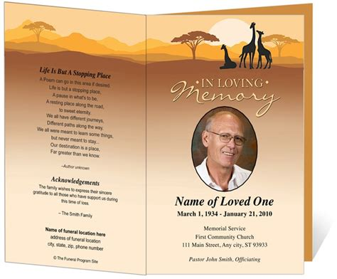Outdoor Safari Funeral Order of Service Program Template