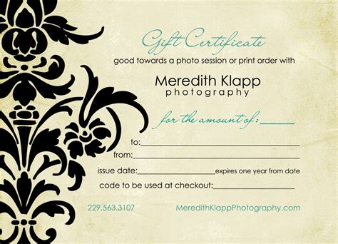 photography gift card template gift certificates available 187 meredith klapp photography