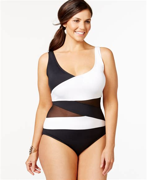 one piece swimsuits plus size models lyst anne cole plus size mesh combo one piece swimsuit