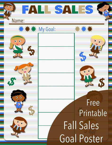 free printable goal poster free printable fall sales goal poster for all levels
