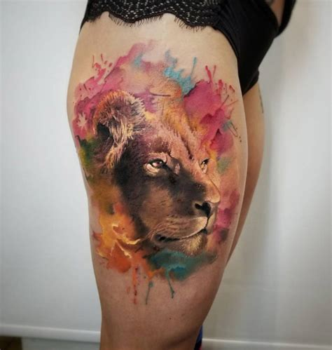 realism lion face with watercolor fashioviral net