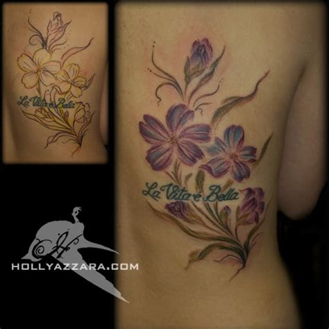 little johns tattoo brush painted purple flowers add on tattoos