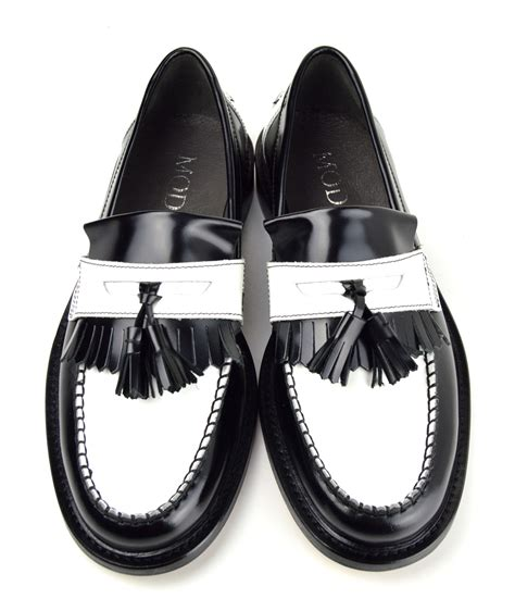 black white tassel loafers the prince mod shoes