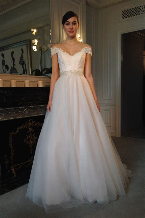 tulle wedding dress beautiful the shoulder lace and tulle wedding dress