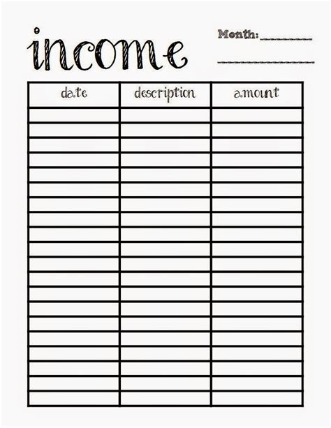 Spreadsheet Printable by X And More Budget Printables