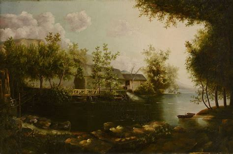 canvas knox lot 604 19th c oil on canvas knox county scene