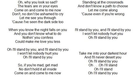 country music lyrics i will stand by you i ll stand by you what is the meaning purpose of life