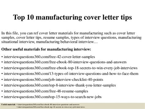 Manufacturing Consultant Cover Letter top 10 manufacturing cover letter tips