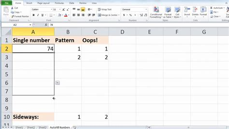 find pattern in numbers excel excel 2010 auto fill numbers youtube