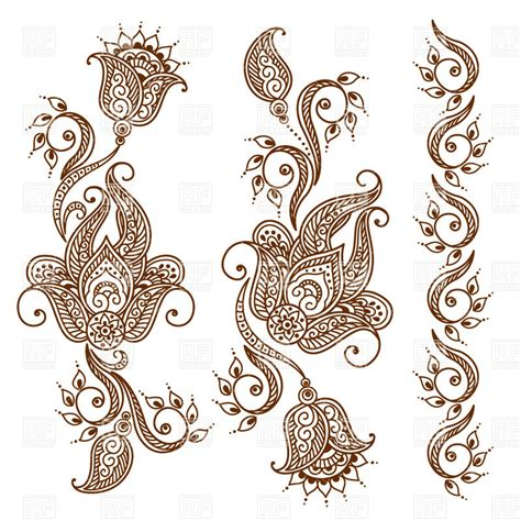 henna pattern vector mehndi style ornamental flower for tattoo indian ethnic