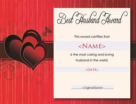 printable gift certificate for husband printable award certificate templates sleprintable com
