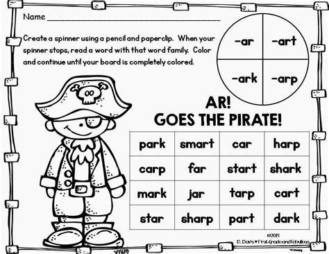 ar pattern words first grade and fabulous ar goes the pirate a freebie