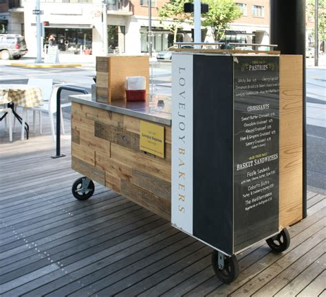 Custom design and fabrication of mobile coffee cart for Fix Studio designed Lovejoy Bakers.   Yelp
