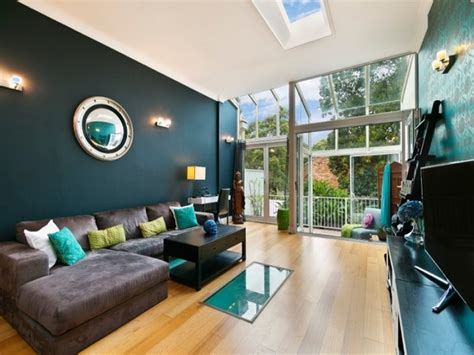 Brown Modern Family Room Living Teal Living Room Design Ideas Trendy Interiors In A Bold
