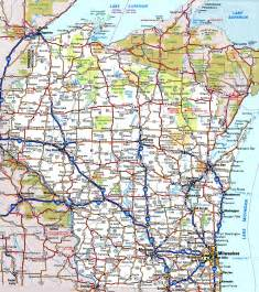 wisconsin map wisconsin road map