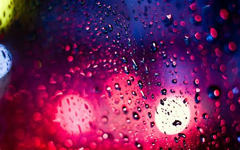 colorful rain wallpaper bokeh drops rain lights window glass water color wet