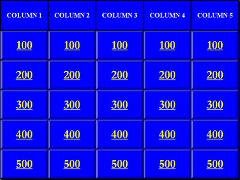 Jeopardy Template Blank Jeopardy Powerpoint Game Template Search Results