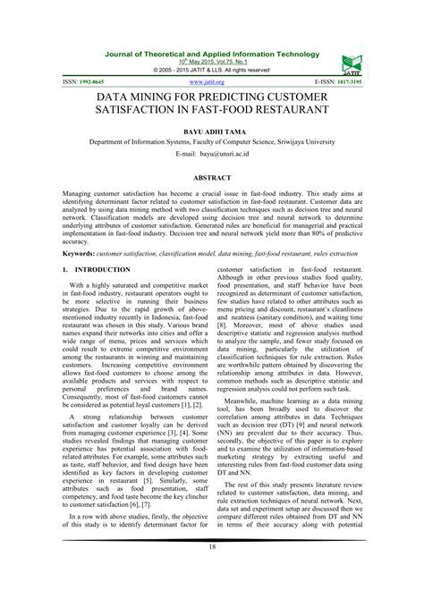 (PDF) Data mining for predicting customer satisfaction in