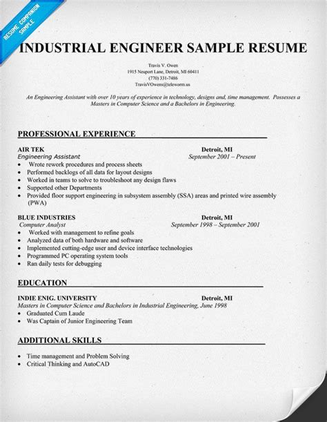 engineering career objective exles industrial engineer sle resume resumecompanion