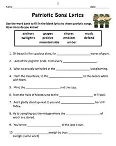 s day song worksheets 1000 images about patriotic on veterans day