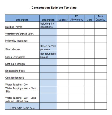 building estimator construction estimating spreadsheet excel template
