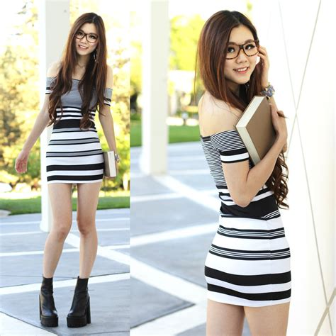 Dress Maroon Ayumy yuzi russe black white strips jeffery cbell chunky heel cus day