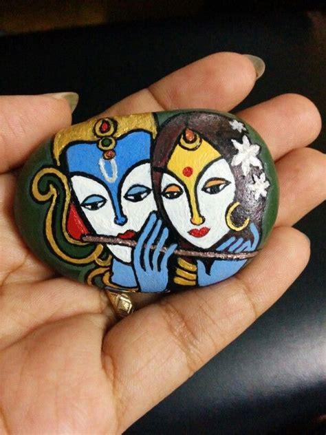 steine bemalen motive 3740 radha krishna rock painting 2 in my leisure
