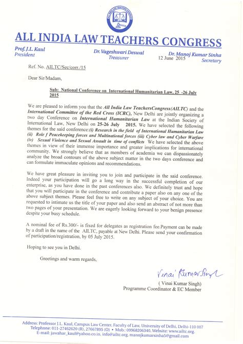 International Conference Invitation Letter Ailtc All India Teachers Congress Teachers Association Of India