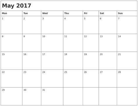 printable monthly calendar 2017 monday start may 2017 month calendar
