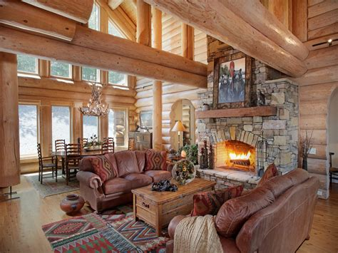 log cabin living rooms  great rooms north american