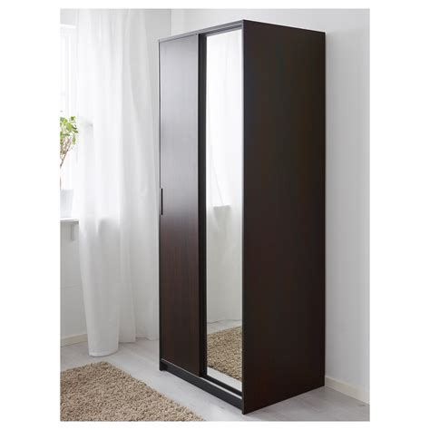 ikea armoire with mirror trysil wardrobe dark brown mirror glass 79x61x202 cm ikea