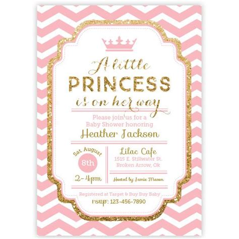 free princess baby shower invitation templates chevron princess baby shower invitation pink and gold