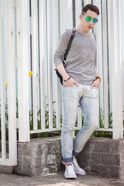 light grey jeans mens men s grey long sleeve t shirt light blue skinny jeans