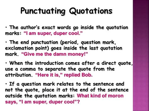 do you always put end punctuation inside quotation marks iqe power point for online section