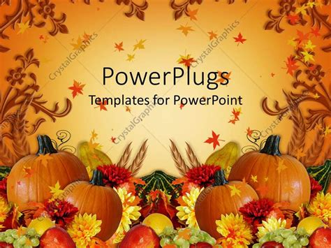Powerpoint Template Thanksgiving Harvest Orange Background With Fall Leaves Pumpkins Mum Thanksgiving Powerpoint Templates