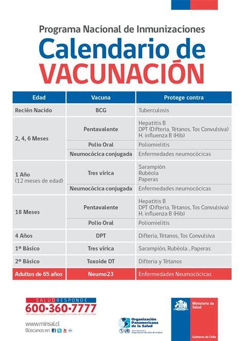 calendario de vacunacion de ministerio de salud 2016 informaci 243 n a los padres sobre vacunas minsal chile