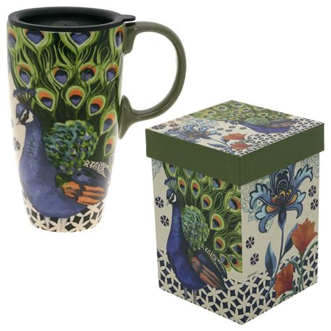 peacock mug kashmir peacock gift boxed travel mug the rainforest site