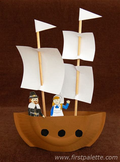 Paper Plate Pilgrim Craft - mayflower or pirate ship craft crafts