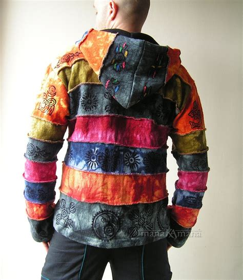 Patchwork Jacket Mens - cotton knitted rainbow patchwork jacket pixie hippie