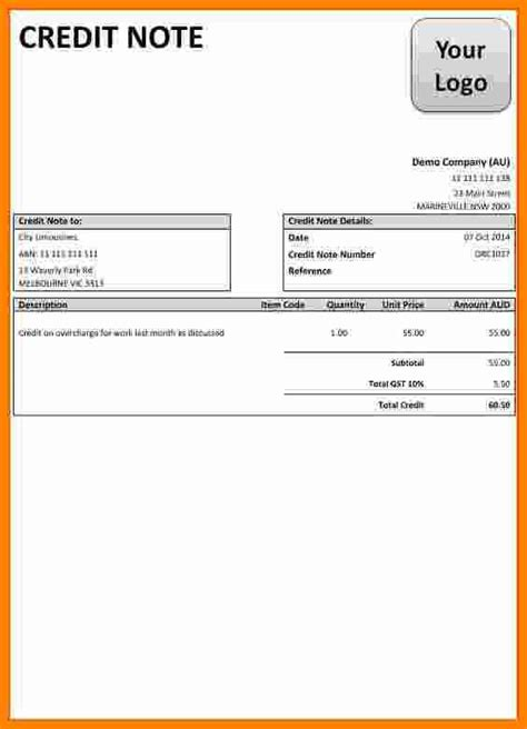 Credit Note Template Myob Debit Note Template Free Invoice