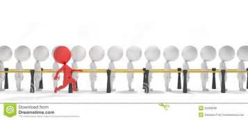 3d smart red man jumps the queue royalty free stock photos image