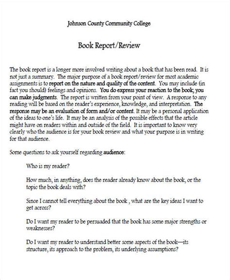college book report template 10 sle book report free sle exle format